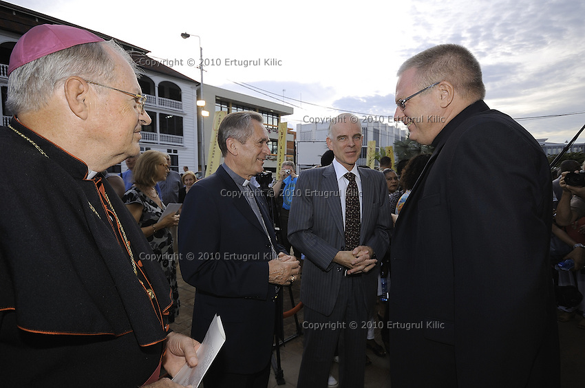 Conversation between Bishop of Paramaribo Monseigneur Wilhelmus Adrianus Josephus Maria de Bekker, Bishop of Rotterdam Monseigneur Drs. A.H. van Luyn s.d.b. and Aart Jacobi The Netherlands Ambassador to the Republic of Suriname before the opening ceremony starts.....Official Opening Ceremony of ST. Petrus and Paulus Cathedral (AKA World's largest wooden cathedral)