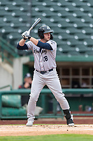 Kane County Cougars designated hitter Zack Shannon (18) at bat during a Midwest League game against the Fort Wayne TinCaps at Parkview Field on April 30, 2019 in Fort Wayne, Indiana. Kane County defeated Fort Wayne 7-4. (Zachary Lucy/Four Seam Images)