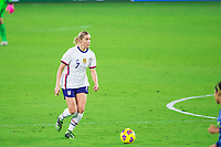 ORLANDO, FL - JANUARY 18: Abby Dahlkemper #7 of the USWNT dribbles the ball during a game between Colombia and USWNT at Exploria Stadium on January 18, 2021 in Orlando, Florida.