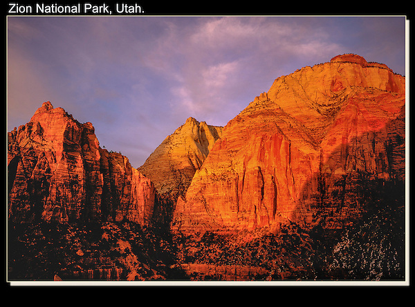 Winter sunset in Zion National Park, Utah.<br />