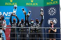 #36 Alpine Elf Matmut Alpine A480 - Gibson Hypercar, André Negrão, Nicolas Lapierre, Matthieu Vaxiviere, 24 Hours of Le Mans , Podium, Circuit des 24 Heures, Le Mans, Pays da Loire, France