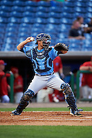 Charlotte Stone Crabs catcher Nick Ciuffo (14) throws down to second during a game against the Clearwater Threshers on April 12, 2016 at Bright House Field in Clearwater, Florida.  Charlotte defeated Clearwater 2-1.  (Mike Janes/Four Seam Images)