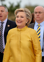 Pictured: Hillary Clinton after unveiling a commemorative plaque on a rock at Swansea University Bay Campus. Saturday 14 October 2017<br /> Re: Hillary Clinton, the former US secretary of state and 2016 American presidential candidate will be presented with an honorary doctorate during a ceremony at Swansea University's Bay Campus in Wales, UK, to recognise her commitment to promoting the rights of families and children around the world.<br /> Mrs Clinton's great grandparents were from south Wales.