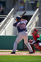 Minnesota Twins Josh Donaldson (20) bats during a Major League Spring Training game against the Boston Red Sox on March 17, 2021 at JetBlue Park in Fort Myers, Florida.  (Mike Janes/Four Seam Images)