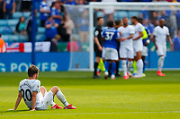 11th September 2021; King Power Stadium, Leicester, Leicestershire, England;  Premier League Football, Leicester City versus Manchester City; Bernardo Silva of Manchester City sits on the grass after the final whistle