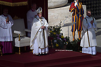 Pope Francis during  Canonization Mass for English John Henry Newman, Italian Giuseppina Vannini, Indian Maria Teresa Chiramel Mankidiyan, Brazilian Dulce Lopes Pontes, and Swiss Margarita Bays on October 13, 2019 In Saint Peter's square at the Vatican.