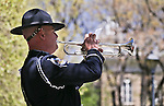 NHP Trooper Chris Johnson plays the trumpet during the Nevada Law Enforcement Officers Memorial Ceremony on Thursday, May 2, 2013, at the Capitol in Carson City, Nev..Photo by Cathleen Allison