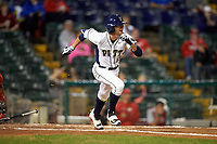 Pitt Panthers left fielder Jacob Wright (13) during a game against the Ohio State Buckeyes on February 20, 2016 at Holman Stadium at Historic Dodgertown in Vero Beach, Florida.  Ohio State defeated Pitt 11-8 in thirteen innings.  (Mike Janes/Four Seam Images)