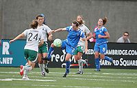 Kelly Schmedes controls a ball from Kendall Fletcher. Saint Louis Athletica defeated the Boston Breakers 1-0 in Cambridge, Massachusetts on June 14, 2009.