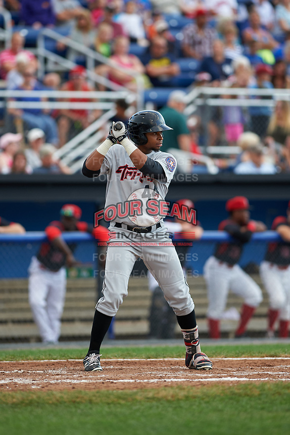 Tri-City ValleyCats right fielder Corey Julks (44) at bat during a game against the Batavia Muckdogs on July 14, 2017 at Dwyer Stadium in Batavia, New York.  Batavia defeated Tri-City 8-4.  (Mike Janes/Four Seam Images)