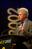 February 25, 2002, Adelaide, Autralia<br /> <br /> Former US president Bill Clinton adress the audience at the World Congress on information Technologies (IT) which concluded in Adelaide Thursday, February 28, 2002.<br /> <br /> It is rumored that Clinton received more than is usual 100 000 US $ fee for the conference<br /> <br /> Mandatory Credit: Photo by Peter Mathew / EventPix- Images Distribution. <br /> (©) Copyright 2002 Peter Mathew / EventPix<br /> <br /> NOTE:NikoN d-1, saved in Adobe 1998 RGB.