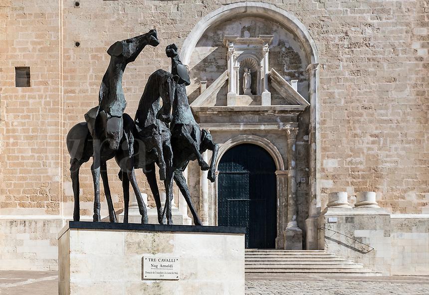 Tres Cavalli outside Iglesia Del Carmen church, Mao,, Mahon, Menorca, Illes Balears, Spain.