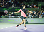 March 29 2018: Juan Martin del Potro (ARG) defeats Milos Raonic (CAN) by 5-7, 7-6 (1), 7-6 (3), at the Miami Open being played at Crandon Park Tennis Center in Miami, Key Biscayne, Florida. ©Karla Kinne/Tennisclix/CSM