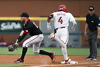 Arkansas infielder Jalen Battles (4) runs to first, Monday, June 7, 2021 in the seventh inning of the NCAA Fayetteville Regional at Baum-Walker Stadium in Fayetteville. Check out nwaonline.com/210608Daily/ for today's photo gallery. <br /> (NWA Democrat-Gazette/Charlie Kaijo)