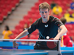 Toronto, ON - Aug 8 2015 -  Curtis Caron competes in Group B MS8 table tennis in the ATOS Markham Parapan Centre during the Toronto 2015 Parapan American Games  (Photo: Matthew Murnaghan/Canadian Paralympic Committee)