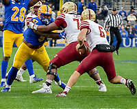 Pitt defensive lineman Jaylen Twyman (97) eyes the Boston College quarterback.The Boston College Eagles defeated the Pitt Panthers 26-19 in the football game played at Heinz Field, Pittsburgh Pennsylvania on November 30, 2019.
