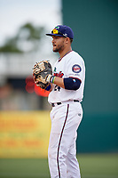 Fort Myers Miracle first baseman Zander Wiel (24) during a game against the Jupiter Hammerheads on April 9, 2017 at CenturyLink Sports Complex in Fort Myers, Florida.  Jupiter defeated Fort Myers 3-2.  (Mike Janes/Four Seam Images)