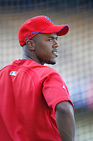 Jimmy Rollins of the Philadelphia Phillies during batting practice before a game against the Los Angeles Dodgers in a 2007 MLB season game at Dodger Stadium in Los Angeles, California. (Larry Goren/Four Seam Images)