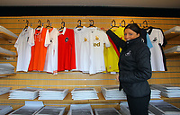 Pictured: The new vintage top collection. Saturday 13 October 2012<br /> Re: Swansea City FC family day out on the grounds of the Liberty Stadium, south Wales.