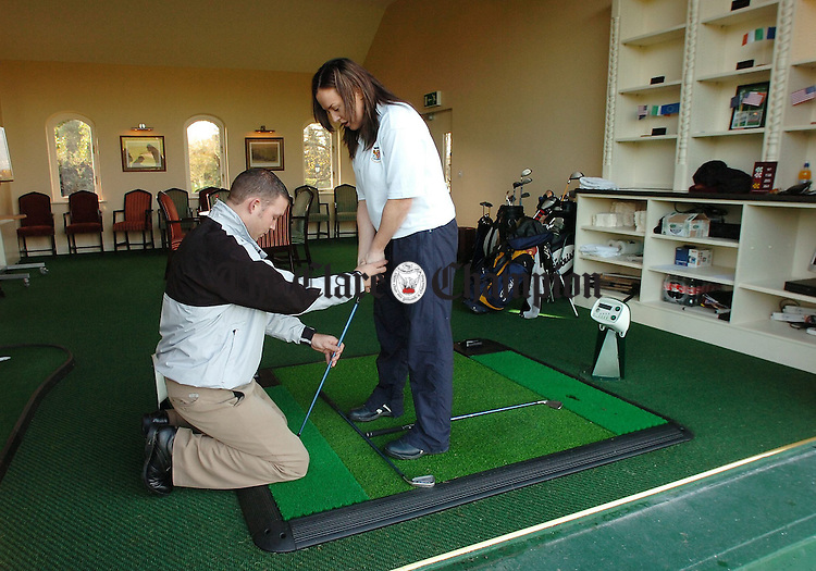 Resident PGA Professional David Foley giving lessons in Dromoland Castle Golf and Country Club.Pic Arthur Ellis.