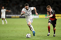 10th February 2021; Bankwest Stadium, Parramatta, New South Wales, Australia; A League Football, Western Sydney Wanderers versus Melbourne Victory; Storm Roux of Melbourne Victory covered by Daniel Wilmering of Western Sydney Wanderers