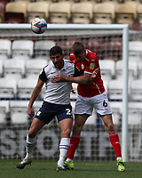 1st May 2021; Deepdale Stadium, Preston, Lancashire, England; English Football League Championship Football, Preston North End versus Barnsley; Ched Evans of Preston North End competes for the ball with Mads Juel Andersen of Barnsley