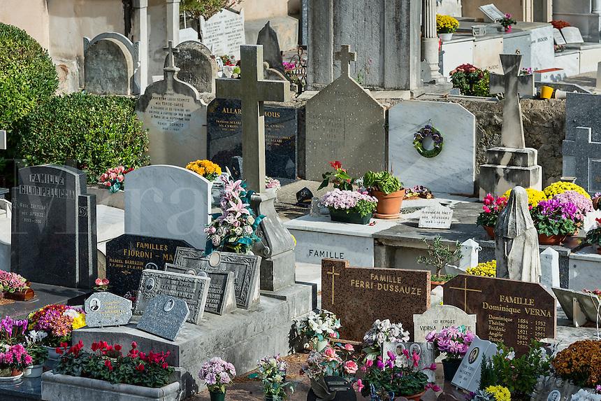 Fresh flowers adorn the burial vaults of the village cemetery, Saint-Jean-Cap-Ferrat, France