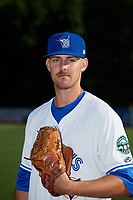 Bluefield Blue Jays pitcher Sean Rackoski (21) poses for a photo before a game against the Bristol Pirates on July 26, 2018 at Bowen Field in Bluefield, Virginia.  Bristol defeated Bluefield 7-6.  (Mike Janes/Four Seam Images)