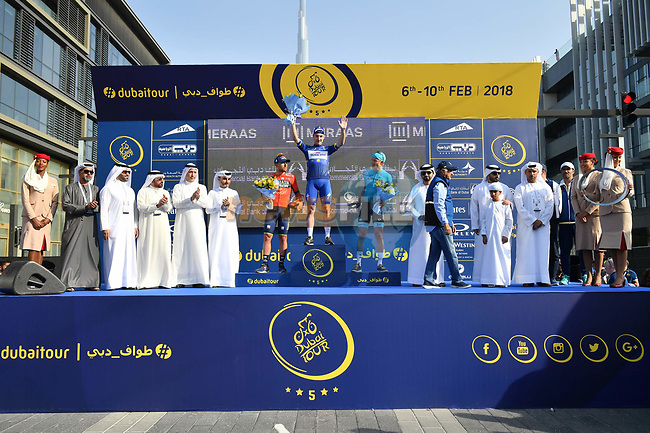 Race leader Elia Viviani (ITA) Quick-Step Floors wins overall with Magnus Cort Nielsen (DEN) Astana Pro Team in 2nd place and Sonny Colbrelli (ITA) Bahrain-Merida 3rd at the end of Stage 5 The Meraas Stage final stage of the Dubai Tour 2018 the Dubai Tour's 5th edition, running 132km from Skydive Dubai to City Walk, Dubai, United Arab Emirates. 10th February 2018.<br /> Picture: LaPresse/Massimo Paolone   Cyclefile<br /> <br /> <br /> All photos usage must carry mandatory copyright credit (© Cyclefile   LaPresse/Massimo Paolone)
