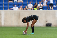 HARRISON, NJ - JULY 25: Margaret Purce #23 of NJ/NY Gotham FC places he ball for a PK during a game between Chicago Red Stars and NJ/NY Gotham City FC at Red Bull Arena on July 25, 2021 in Harrison, New Jersey.