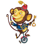 Illustration of monkey performing circus over white background