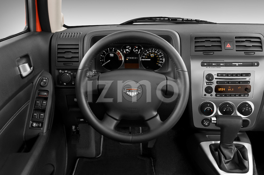Steering wheel view of a 2008 Hummer H3 Alpha SUV