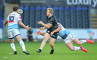 24th April 2021; Liberty Stadium, Swansea, Glamorgan, Wales; Rainbow Cup Rugby, Ospreys versus Cardiff Blues; Keiran Williams of Ospreys passes the ball out while getting tackled by Owen Lane of Cardiff Blues