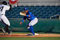 Dunedin Blue Jays first baseman Juan Kelly (25) waits to receive a throw during a game against the Florida Fire Frogs on April 10, 2017 at Osceola County Stadium in Kissimmee, Florida.  Florida defeated Dunedin 4-0.  (Mike Janes/Four Seam Images)