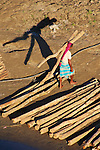 Bamboo and timber logs floated down the Sangu River to Bandarban, are carried up the riverbank to waiting transport