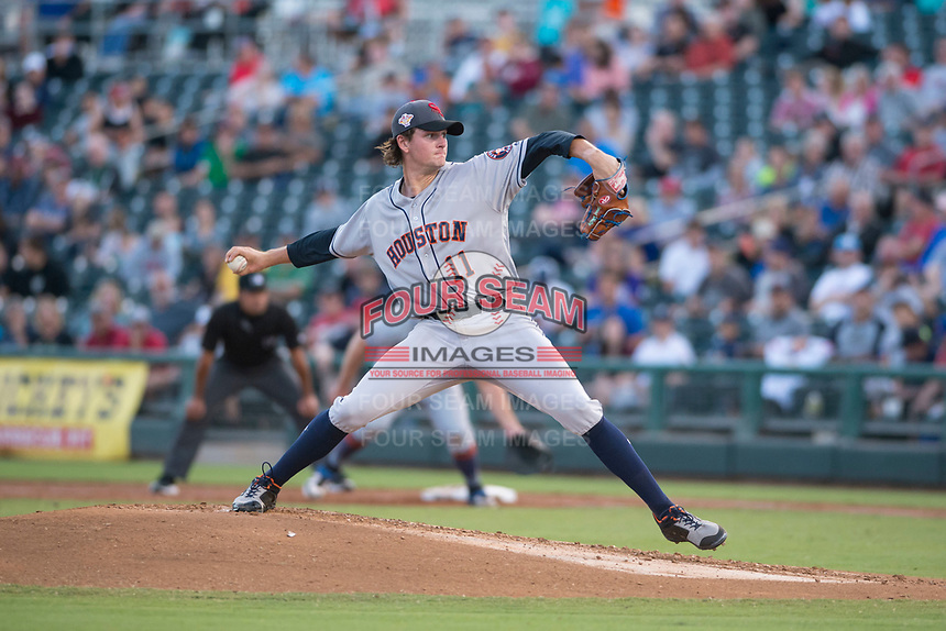 AFL East starting pitcher Forrest Whitley (11), of the Scottsdale Scorpions and the Houston Astros organization, delivers a pitch during the Fall Stars game at Surprise Stadium on November 3, 2018 in Surprise, Arizona. The AFL West defeated the AFL East 7-6 . (Zachary Lucy/Four Seam Images)