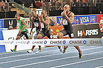 Asafa Powell wins the men's 50 meter dash at the first U.S. Open on January 29, 2012 at Madison Square Garden in New York, New York.  (Bob Mayberger/Eclipse Sportswire)