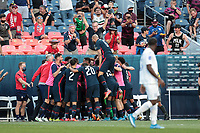 DENVER, CO - JUNE 3: Jordan Siebatcheu #16 of the United States celebrates scoring with teammates during a game between Honduras and USMNT at Empower Field at Mile High on June 3, 2021 in Denver, Colorado.