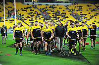 The Hurricanes walk in before the Super Rugby match between the Hurricanes and Waratahs at Westpac Stadium in Wellington, New Zealand on Saturday, 7 April 2017. Photo: Dave Lintott / lintottphoto.co.nz