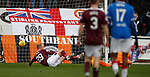 26.01.2020 Hearts v Rangers: Liam Boyce rolls the ball into the net but his effort is disallowed