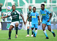 PALMIRA - COLOMBIA, 27-10-2018: Carlos Carbonero (Izq) del Deportivo Cali disputa el balón con Danilason (Der) de Jaguares de Córdoba durante partido por la fecha 17 de la Liga Aguila II 2017 jugado en el estadio Palmaseca de Cali. / Carlos Carbonero (L) player of Deportivo Cali fights for the ball with Danilson (R) player of Jaguares de Cordoba during match for the date 17 of the Aguila League II 2017 played at Palmaseca stadium in Cali.  Photo: VizzorImage/ Nelson Rios / Cont