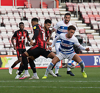 Queens Park Rangers' Luke Amos (right) under pressure from Bournemouth's Dominic Solanke <br /> <br /> Photographer David Horton/CameraSport<br /> <br /> The EFL Sky Bet Championship - Bournemouth v Queens Park Rangers - Saturday 17th October 2020 - Vitality Stadium - Bournemouth<br /> <br /> World Copyright © 2020 CameraSport. All rights reserved. 43 Linden Ave. Countesthorpe. Leicester. England. LE8 5PG - Tel: +44 (0) 116 277 4147 - admin@camerasport.com - www.camerasport.com