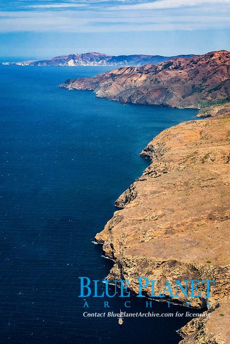 Santa Cruz Island, north side, aerial photo, Channel Islands National Park, California, USA