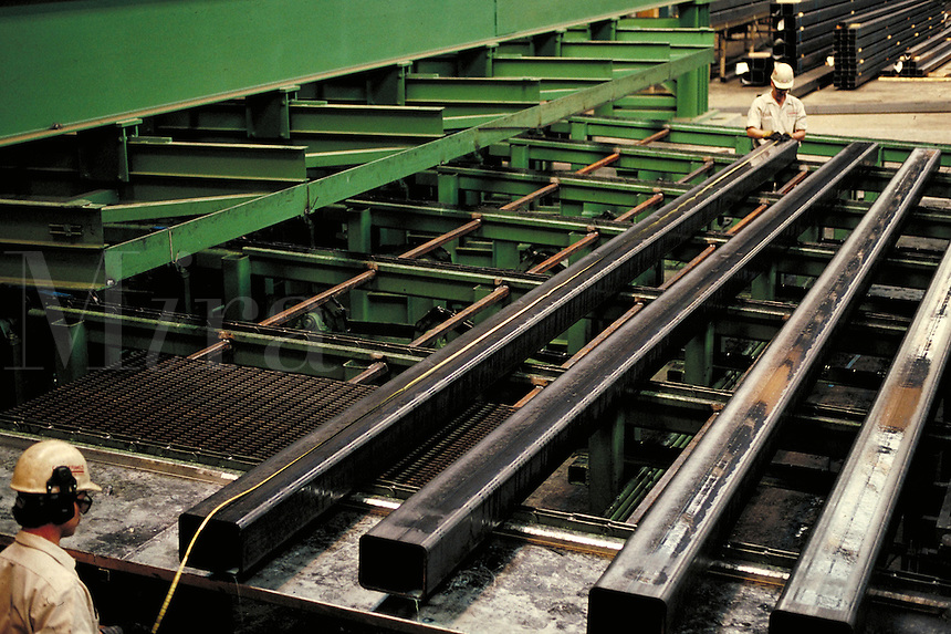 Production of tubular steel at steel fabrication plant. Birmingham Alabama, Copperweld.