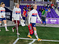 ORLANDO, FL - JANUARY 22: Megan Rapinoe #15 of the USWNT walks onto the field before a game between Colombia and USWNT at Exploria stadium on January 22, 2021 in Orlando, Florida.
