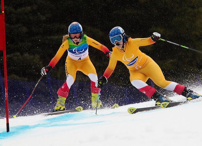 Viviane Forest and Lindsey Debou, Vancouver 2010 - Para Alpine Skiing // Ski para-alpin.<br /> Viviane Forest and Lindsey Debou compete in Para Alpine Skiing // Viviane Forest et Lindsey Debou participent en ski para-alpin. 16/03/2010.