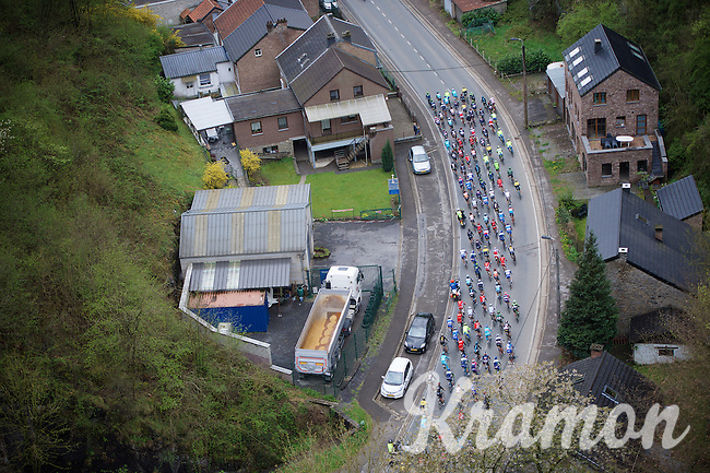 birds view of the peloton early in the race<br /> <br /> 101th Liège-Bastogne-Liège 2015