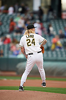 Salt Lake Bees starting pitcher John Lamb (24) delivers a pitch to the plate against the Albuquerque Isotopes at Smith's Ballpark on April 5, 2018 in Salt Lake City, Utah. Salt Lake defeated Albuquerque 9-3. (Stephen Smith/Four Seam Images)