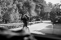 Christian Knees (DEU/SKY) overtaking the SKY teamcar to rejoin the other riders<br /> <br /> restday 2 in Burgos<br /> stage 17 TT recon ride<br /> 2015 Vuelta à Espagna