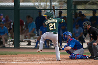 Oakland Athletics second baseman J.P. Sportman (21) at bat during a Minor League Spring Training game against the Chicago Cubs at Sloan Park on March 13, 2018 in Mesa, Arizona. (Zachary Lucy/Four Seam Images)